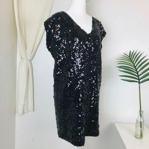 Calypso St Barth Black Sequin Shift Mini Dress